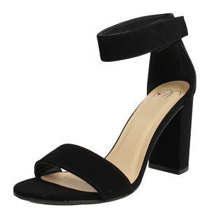 Shoes - Black Open Toe Ankle Strap Velcro Closure Heel